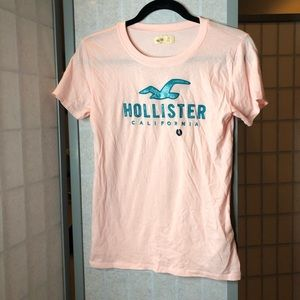NWOT Hollister pink & turquoise logo tee